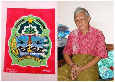 Tjipta Swasana dan karyanya lambang Dhaksinarga Bhumikarta. Foto: Bara.