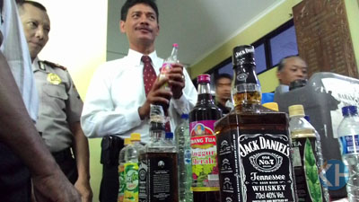 Polres Gunungkidul sita minuman keras. Foto: Juju.