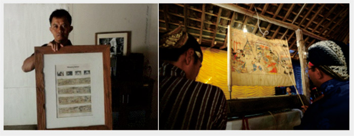 Kiri: memegang foto wayang beber. Kanan: Pementasan wayang beber. Foto: Kandar