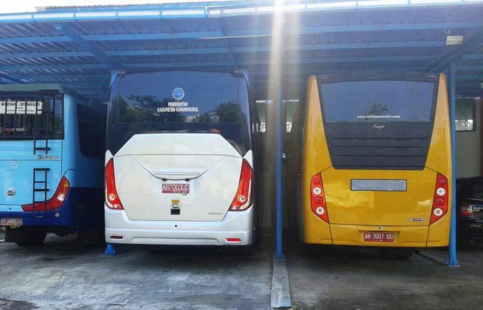 Armada bus perintis yang dioperasikan DIshub Gunungkidul. Foto: Atmaja.