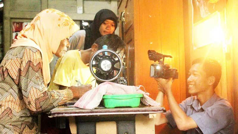 Proses pembuatan film karya siswa SMK Muhammadiyah Semin. Foto: Sidik.