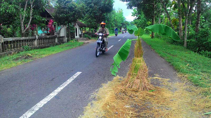Protes kerusakan jalan di Jl Raya Wonosari-Playen. Foto: Juju.