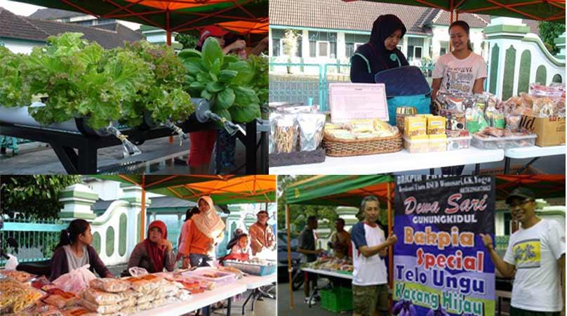 Bazaar Minggu Pagi di Alun-alun Wonosari, produk hortikultura dan makanan olahan. Dok: KH/Totok.