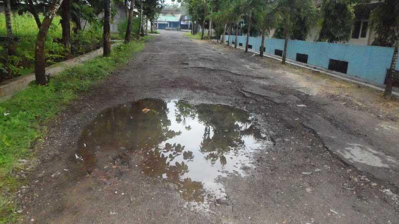 Jalan Desa Playen Berkubang Air, Foto: Sarwo.