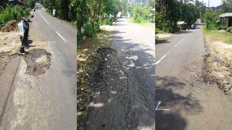 Kerusakan jalan kabupaten ruas Grogol-Gelaran. Foto: Kandar.