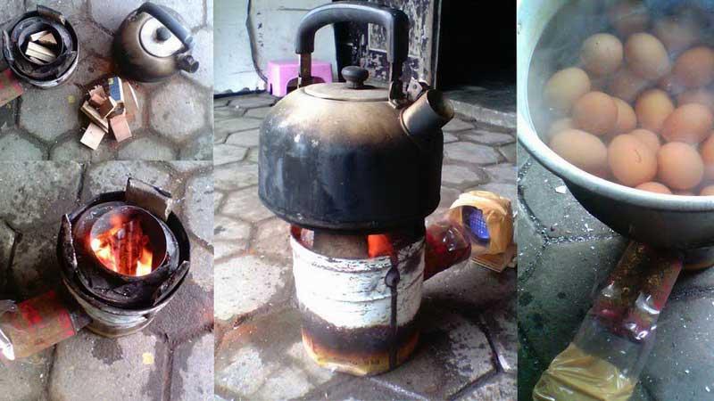 Kompor kayu berbahan limbah, siasat hemat bahan baar gas. Dok: KH