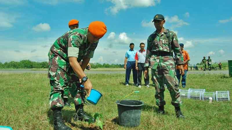 Letkol Psk Dili Setiawan menanam pepaya secara simbolik. Foto : Juju