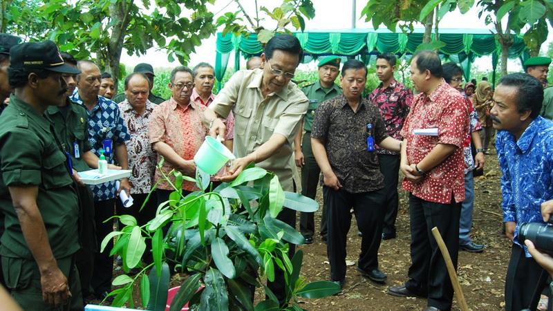Gubernur DIY melakukan penanaman nyamplung bahan bakar nabati di RPH Gubugrubuh Playen. KH/Juju.