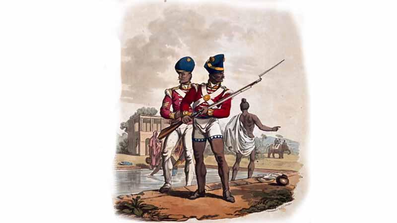 Ilustrasi pasukan Bengal Sepoy Inggris. Sumber: Wikipedia.com