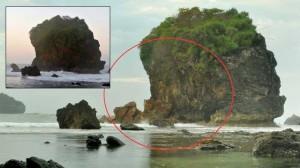 Tebing Karang Pantai Jungwok yang Ambrol. Inset: Tebing Sebelum Ambrol. KH/Rado