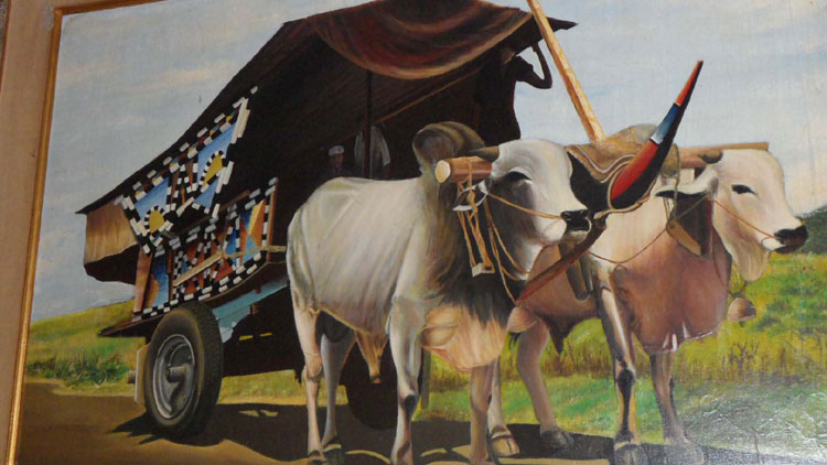 Lukisan Gerobak Sapi karya Alm. Intan GS Bono mau dijual. KH/ Sarwo