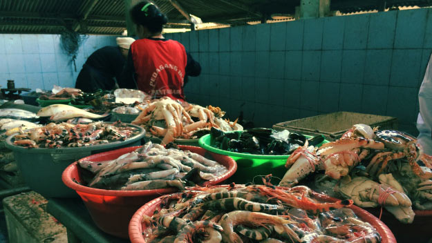Tempat penjualan ikan di Pantai Baron. KH/ Edo
