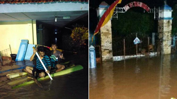 Upaya evakuasi siswa, dan kondisi genagan air yang mencapai 140 cm. KH