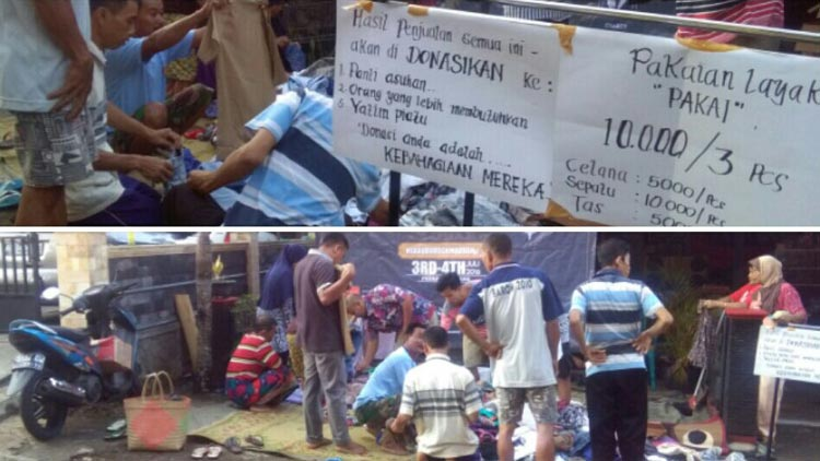 Kegiatan Komunitas Pemuda saat menjual pakaian pantas pakai di Pasar Kemadang, hasilnya disalurkan dalam bentuk sembako ke warga kurang mampu.