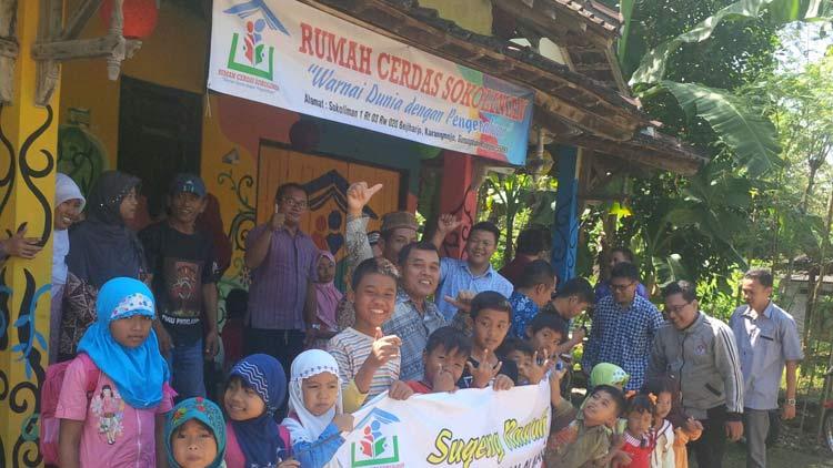 Penyambutan Rumah Cerdas Sokoliman kepada tim penilai dari Disdikpora Gunungkidul. KH