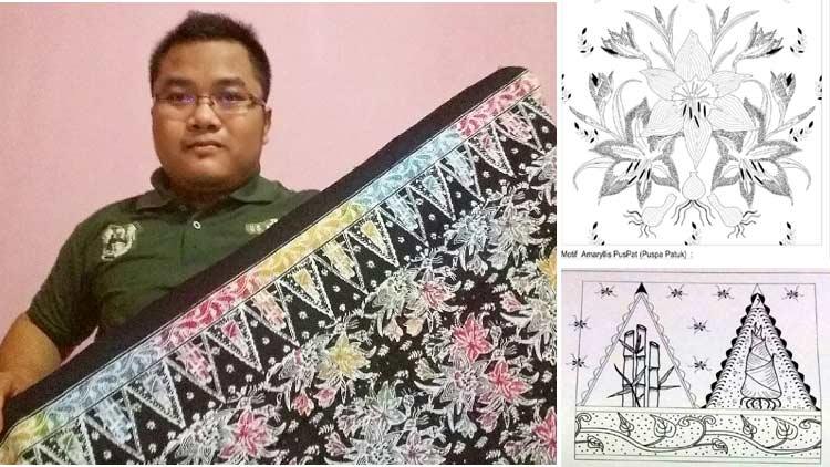 Hanafi Setiyo Nugroho dan Batik Amarylis Patuk hasil karyanya. KH