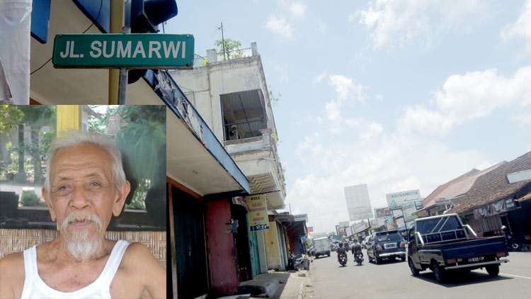 Jalan Sumarwi, Wonosari, insert: Muh. Maksum tokoh sepuh yang sedikit tahu tentang asal usul nama jalan tersebut. KH/ Kandar.
