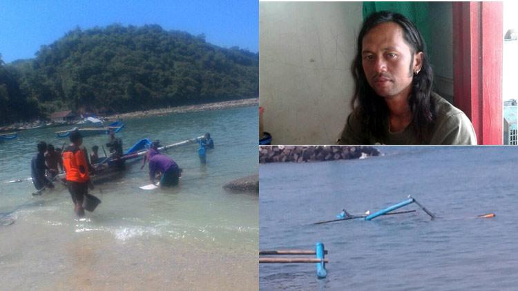 Upaya Evakuasi, foto selayan asal Pantai Prigi dan kondisi kapal yang terbalik. foto: dok. SAR Wil 1, Sadeng.