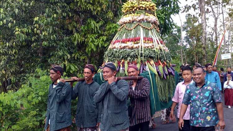 Kirab budaya dalam rangka festival budaya reuni perantau warga Padukuhan Bleberan. KH