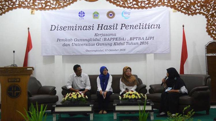 Pelaksanaan kegiatan Desiminasi hasil penelitian oleh BPTBA LIPI Gunungkidul.