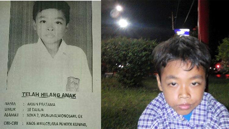 Arjun Pratama, hilang sejak Senin, saat ini sudah ditemukan. foto: selebaran informasi, ICS.
