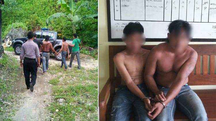Keua pemuda ditangkap Polisi karena diduga mencuri sepeda motor. foto: doc. Humas Polsek Purwosari.
