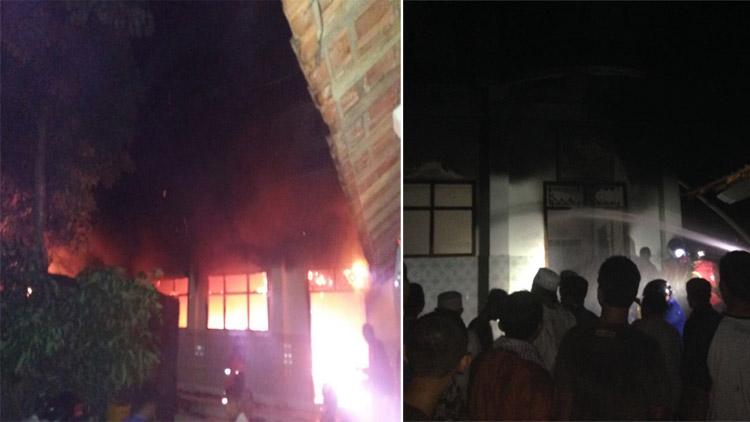 Suasana kebakaran di Ponpes Darul Qur'an Wal Irsyad, Ledoksari, Kepek, Wonosari. sumber: fb.