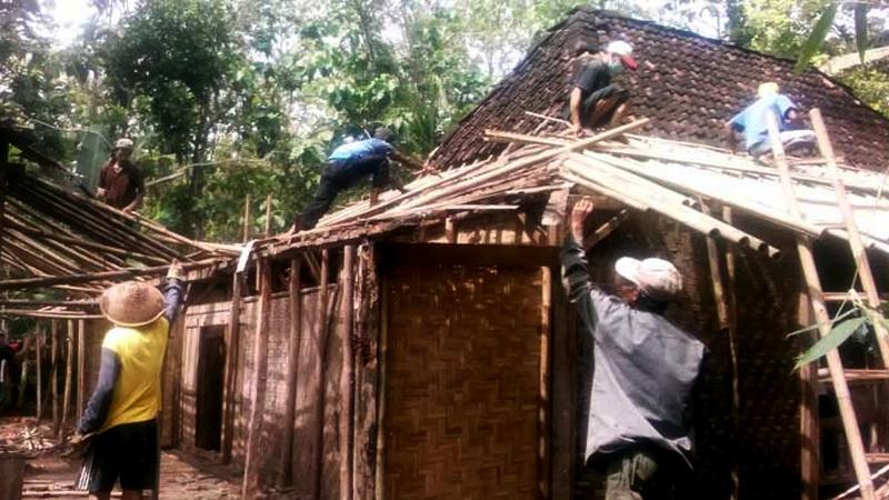 Sambatan ndandani omah. Metode wong cilik Gunungkidul bergotong royong memperbaiki rumah tinggal. KH/WG.