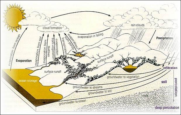 Siklus hidrologi, daur atau rantai perubahan air. Dok: ebiologi.com