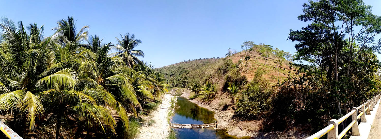 Bukit Prambutan yang gundul dan kering, di sisi Sungai Prambutan.[Foto:NR]